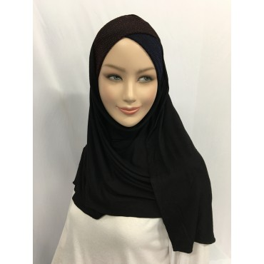Hijab avec bonnet croisé en lurex