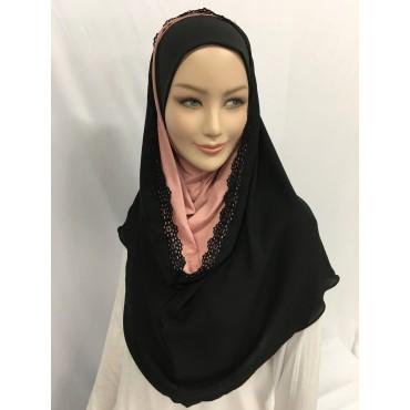 Hijab capuche avec la dentelle
