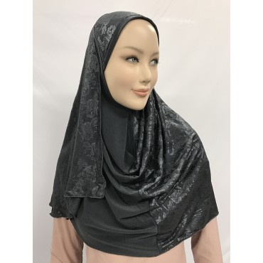 Hijab bi-matière en dentelle