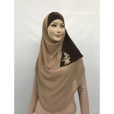 Hijab 2 couleurs avec fleur brodée